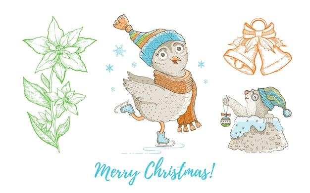 Weihnachts-doodle-eulenvogel, maulwurf, klingelglocke, weihnachtsstern eingestellt. nette aquarellhand gezeichnete sammlung. poster-grußkarten-gestaltungselement.