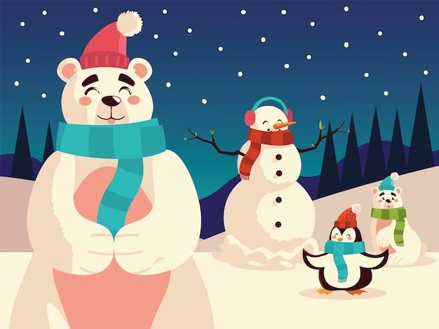 Weihnachts-eisbären-schneemann und pinguin in der nachtschneelandschaftsillustration