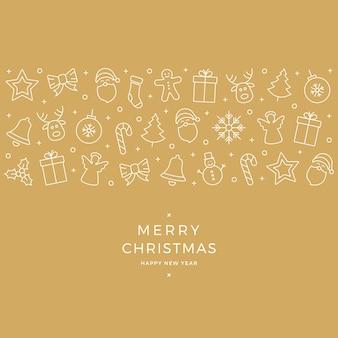 Weihnachts-element-symbole weißes banner-gold-hintergrund