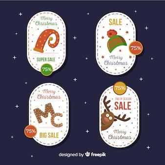 Weihnachts-elemente-verkauf label pack