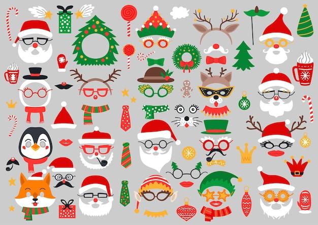 Weihnachts-fotokabinen-requisiten und scrapbooking-set