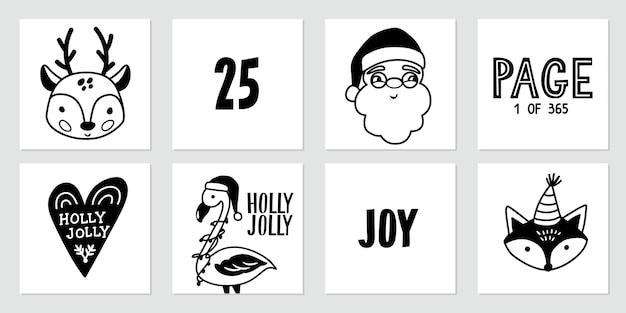 Weihnachts-gekritzelplakate mit weihnachtsmann, hirschbaby, niedlichem fuchs, flamingo und schriftzugzitaten. frohes neues jahr und weihnachtskollektion im skizzenstil. schwarz und weiß.