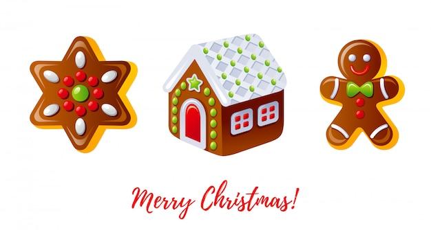 Weihnachts-icon-set. karikaturlebkuchenmann, kekshaus, plätzchenstern.