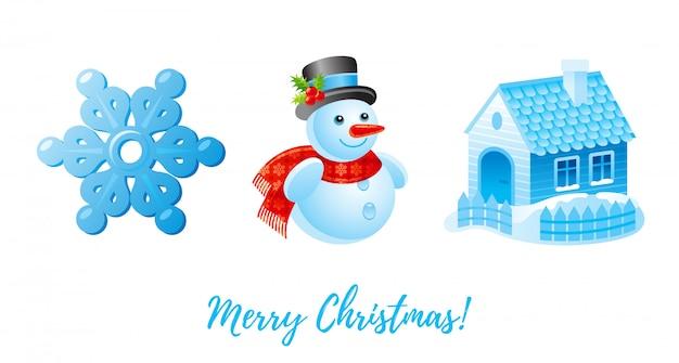Weihnachts-icon-set. karikaturschneeflocke, schneemann, schneewinterhaus.