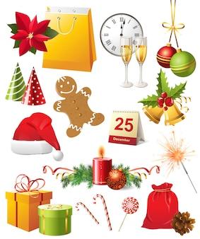 Weihnachts-icons gesetzt