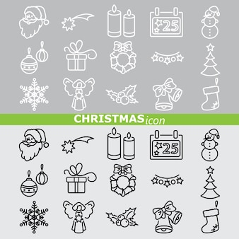 Weihnachts-icons. linearer satz.