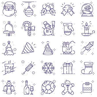 Weihnachts-icons linie gesetzt