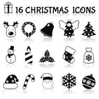 Weihnachts-icons schwarz gesetzt