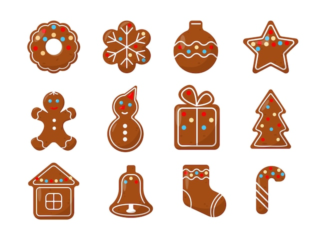 Weihnachts-ingwer-kekse eingestellt. festliches hausgemachtes backen.