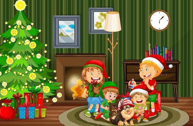 Weihnachts-innenszene mit vielen kindern und niedlichen hunden
