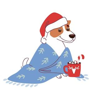 Weihnachts-jack-russell-terrier im plaid mit einer tasse heißer schokolade