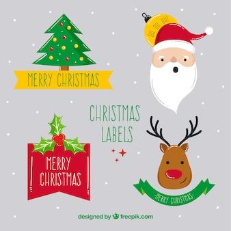 Weihnachts-label-kollektion mit lustigem stil