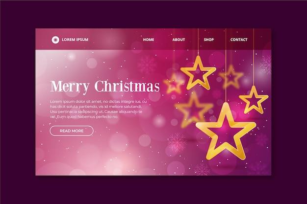 Weihnachts-landingpage-vorlage mit unscharfen elementen und sternen