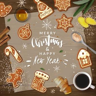Weihnachts-lebkuchen-kochrahmenillustration mit beschriftung