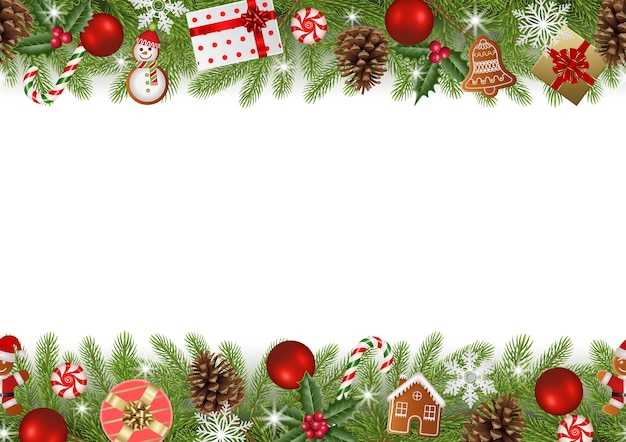 Weihnachts nahtlose grenze mit tannenzweigen, lebkuchen und dekorationen