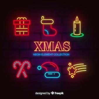 Weihnachts-neon-element-kollektion