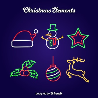Weihnachts-neon-elemente-sammlung