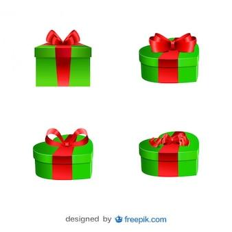 Weihnachts neue gegenwart jahre boxen mit roten bändern