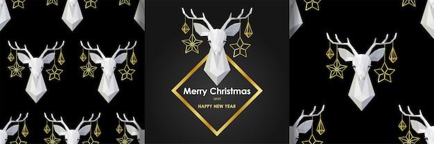 Weihnachts-neujahr-grußkarte und nahtlose muster stellen tiertapeten im skandinavischen stil ein