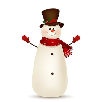Weihnachts-niedlicher, fröhlicher, lustiger schneemann, der hände cartoonfigur winkt.