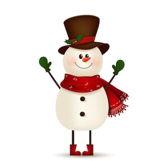 Weihnachts-niedlicher, fröhlicher, lustiger schneemann, der hände und gruß lokalisiert auf weißem hintergrund winkt. schneemann für winter- und neujahrsferien. glückliche schneemann-zeichentrickfigur.