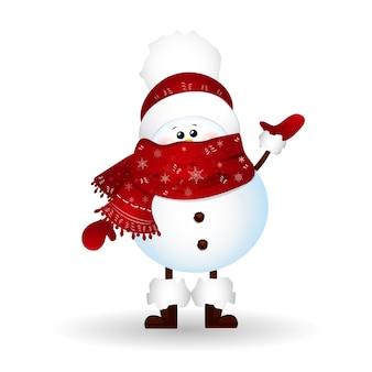 Weihnachts-niedlicher schneemann mit schal und roter weihnachtsmannmütze, grüße lokalisiert auf weißem hintergrund.