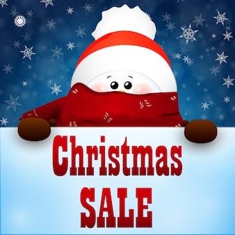 Weihnachts-niedlicher schneemann mit schal und roter weihnachtsmannmütze. weihnachtsverkauf.