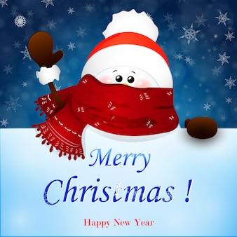 Weihnachts-niedlicher schneemann mit schal und roter weihnachtsmannmütze, winkende hand.
