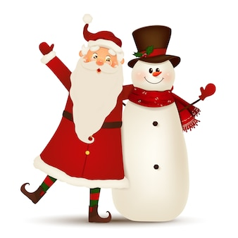 Weihnachts-niedlicher weihnachtsmann mit dem lustigen schneemann, der hände und gruß lokalisiert auf weißem hintergrund winkt. weihnachtsmann klausel mit schneemann für winter- und neujahrsferien. glückliche weihnachtsmann-zeichentrickfigur.