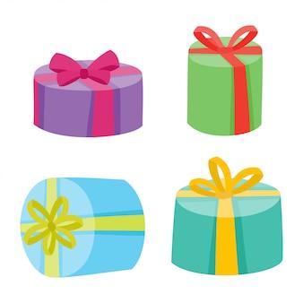Weihnachts- oder geburtstagsgeschenksammlung. illustration von hellen kästen der karikatur
