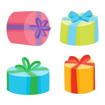 Weihnachts- oder geburtstagsgeschenksammlung. illustration von karikaturgeschenken in der tasche lokalisiert auf weiß