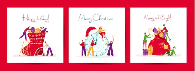 Weihnachts- oder neujahrsgrußkartenset - winzige feiernde leute und weihnachtselfen mit feiertagsgeschenken