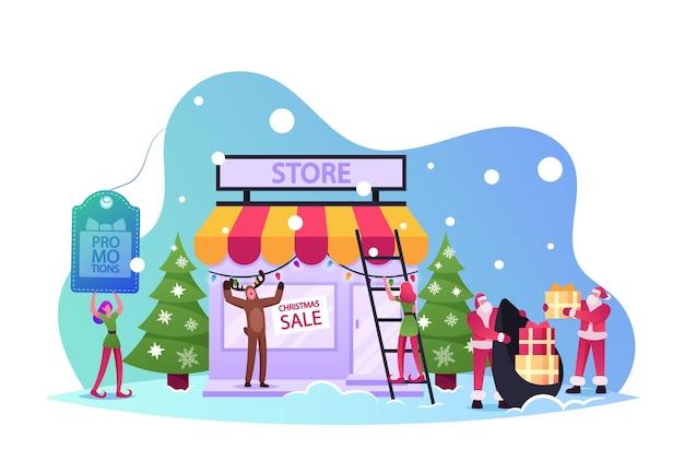 Weihnachts-promotion-konzept. weihnachtsmann-charakter mit geschenktüte, elf holding sale banner, rentier-promoter, der kunden zum einkaufen aufruft, weihnachtsfest-rabatt. cartoon-menschen-vektor-illustration