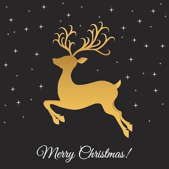 Weihnachts-rentier-weihnachtsgrußkarte mit goldhirsch und schneeflocken auf schwarzem hintergrund