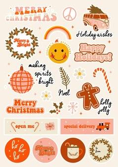 Weihnachts-retro-aufkleber