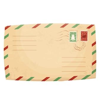 Weihnachts-retro-briefumschlag mit stempelsiegel im cartoon-stil