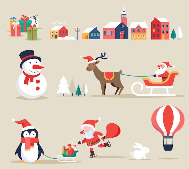 Weihnachts-retro-clipart, elemente und illustrationen