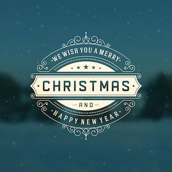 Weihnachts-retro-logo, emblem mit zierdekoration. grußkartenentwurf, weinlesestil.