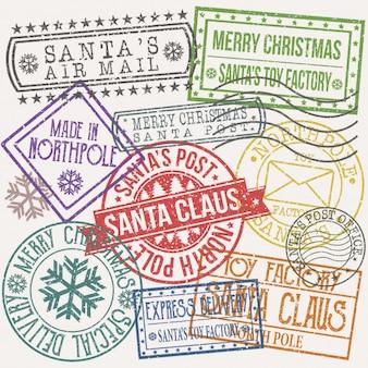 Weihnachts-sankt-posten-stempel-klipp-kunst-vektor