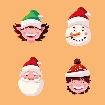 Weihnachts santa helfer junge und schneemann cartoon figuren illustration
