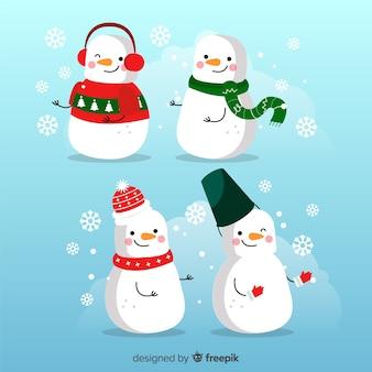 Weihnachts-schneemann-charakter-sammlung