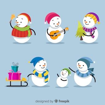 Weihnachts-schneemann-set