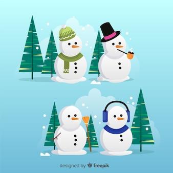 Weihnachts-schneemann-zeichensatz