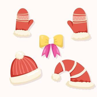 Weihnachts-set aus mützen und fäustlingen
