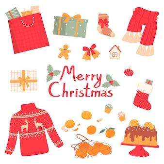 Weihnachts-set von geschenken und accessoiresvektor-illustration flacher stil isoliert auf weißem hintergrund