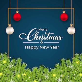 Weihnachts-social-media-banner mit kiefernblättern. banner mit blättern, weißen kugeln, roten kugeln. weihnachtskarte auf dunklem hintergrund. weihnachts-social-media-post mit dekorativen elementen und schneeflocken.