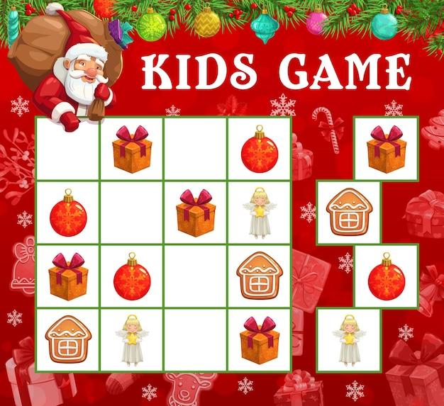 Weihnachts-sudoku oder labyrinth-spiel mit vektor-sankt- und weihnachtsgeschenken. kindererziehungs-gedankenspiel, logikpuzzle oder rätsel mit weihnachtsmann-cartoon-figur, christbaumkugeln, geschenkboxen, engeln und keksen