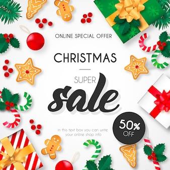 Weihnachts-super sale-hintergrund