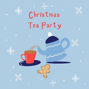 Weihnachts-teeparty mit keksen. weihnachtsfeiertag niedliche elemente wasserkocher, becher, lebkuchen. neujahrsgrußkarte