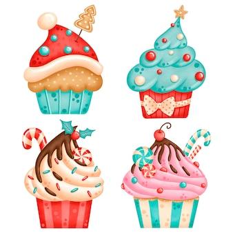 Weihnachts themenorientierte cupcakes